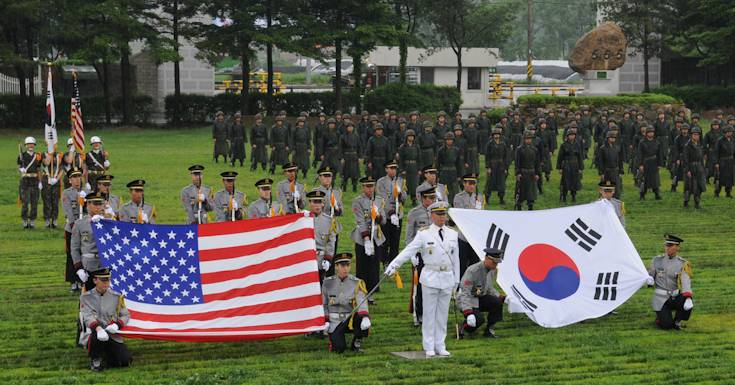 The Republic of Korea Army's 25th Infantry Division Honor Guard performs at a ceremony to honor the Korean War veterans from the Nevada Outposts Battle, at Yangju, South Korea, May 28, 2013. (Photo by Pfc. Hong Sungwoo, Eighth Army Public Affairs)
