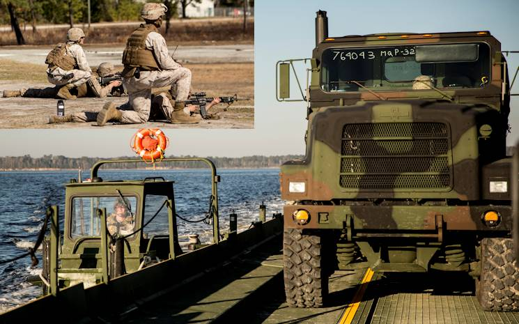 Large Image - A Marine with Bridge Company, 8th Engineer Support Battalion, 2nd Marine Logistics Group steers an Improved Ribbon Bridge with an MK III Bridge Erection Boat near Camp Lejeune, N.C., March 10, 2014. Boats and IRBs were used to move heavy equipment and Marines across the New River to rifle ranges as part of an annual training exercise.  Inset Image - Staff Sgt. Scottie McDaniel (right), a Burlington, N.C., native and a combat marksmanship trainer with Bridge Company, 8th Engineer Support Battalion, 2nd Marine Logistics Group, and Cpl. Tyler Comar (left), a Hillsborough, N.C., native, supervise Marines during the table three and four portions of the combat marksmanship program aboard Camp Lejeune, N.C., March 10, 2014. Marines with the company fired more than 7,000 rounds during day and night shoots. (U.S. Marine Corps photos by Lance Cpl. Shawn Valosin)