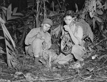 Navajo Indian Code Talkers Henry Bake and George Kirk from December 1943. (Courtesy of the National Archives)