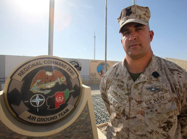 Petty Officer 1st Class Aaron Spaulding deployed to Afghanistan as the War on Terror kicked off in 2001. 13 years later, he's deployed there again to assist with security force assistance operations. (U.S. Marine Corps photo by Sgt. Jessica Ostroska)