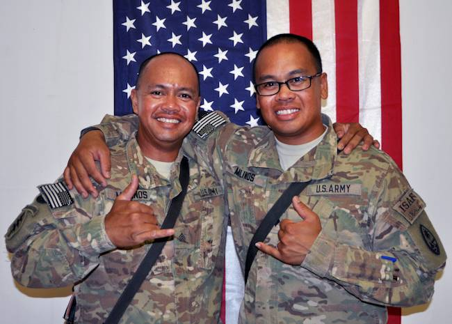 September 19, 2013 - Sgt. Manolito (Manny) Molinos, left, and brother Spc. Mark Molinos of Alpha Company, 1st Battalion, 294th Infantry Regiment, Guam Army National Guard, once carried the weight of Guam on their soldiers as national athletes. Now they're serving their island and country as soldiers in Operation Enduring Freedom in Afghanistan. (U.S. Army National Guard photo by Sgt. Eddie Siguenza)