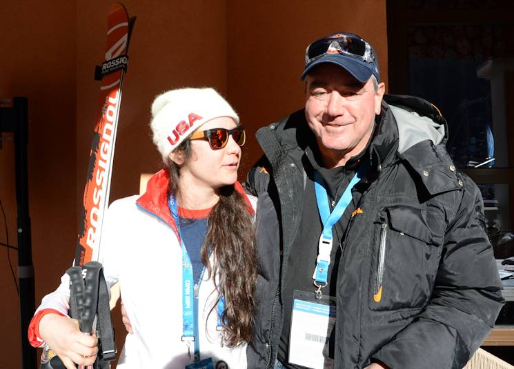 U.S. Olympic skiier Jacqueline Wiles looks at her proud father, Col. David Wiles, after she competed in the Olympic ladies downhill event at Rosa Khutor, Russia, Feb. 12, 2014. She said she is grateful that her father has supported her skiing since she was 2 years old. (U.S. Army photo by Gary Sheftick)