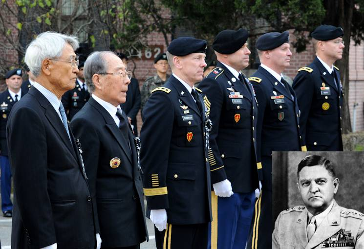 Korean War veterans and Eighth Army leaders pay respects to former Eighth Army commander Gen. Walton H. Walker at a ceremony on Yongsan Garrison in Seoul Dec. 3. (U.S. Army photo by Cpl. Hong Sung-woo)