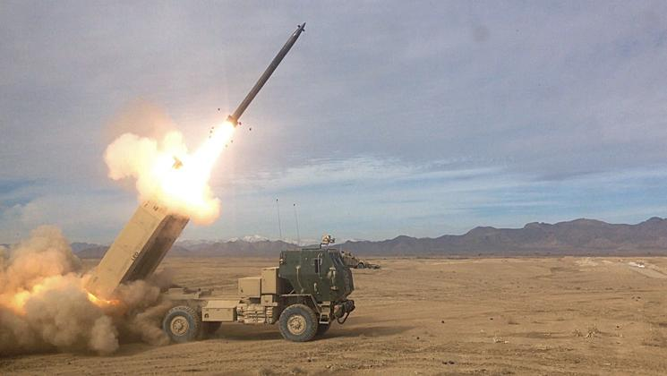 A HIMARS from Alpha Battery, 1-158 Field Artillery, Oklahoma National Guard, from Fort Sill, located in Zabul, Afghanistan, shoots a rocket in support of Operation Brothers United on January 29, 2014. This was the first time a rocket was shot from the guard unit since Desert Storm. (U.S. Army photo by Sgt. Toby Cook)