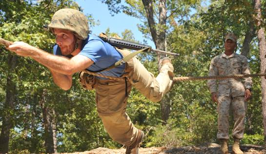 Jacob Cohn, Wharton School University of Pennsylvania graduate student, complete an obstacle from the Officer Candidates School's combat course during the Quantico Leadership Venture at OCS on Sept. 21, 2012. The venture was a two-day event. Photo by USMC Lance Cpl. Antwaun Jefferson