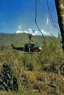 Medivac helicopter on a mission during Vietnam War