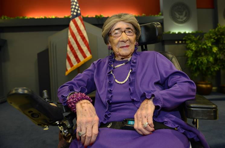 World War II Army veteran 106-year-old Alyce Dixon is seen at the Pentagon, after she was honored at a women's history month event with a Department of the Army lifetime achievement award and a certificate of appreciation, March 31, 2014. Dixon, who was a member of the Women's Army Corps, served in Europe during World War II as a member of the 6888th Central Postal Directory Battalion. The 6888th was the only unit of African-American women in the WAC to serve overseas in England and France during World War II. (Army News Service photo by Lisa Ferdinando)