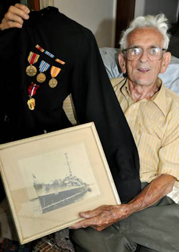December 6, 2012 - Ernie Blanchet, from Troy, N.Y., was employed at the Watervliet Arsenal, N.Y., when the Japanese attacked Pearl Harbor, Dec. 7, 1941. He eventually enlisted in 1944 and served on a U.S. Navy Destroyer Escort ship until he was discharged after the war. He came back to the Arsenal after his discharge where he worked until he retired in 1971. He is now 99-years old. Photo by John B. Snyder