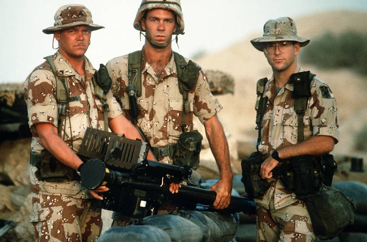 April 1991 - Soldiers with Battery. A, 5162nd Air Defense Artillery Regiment, 11th Air Defense Artillery Brigade., hold an FIM-92A Stinger portable missile launcher during Operation Desert Shield. (U.S Air Force photo by SSGT F. Lee Corkran)