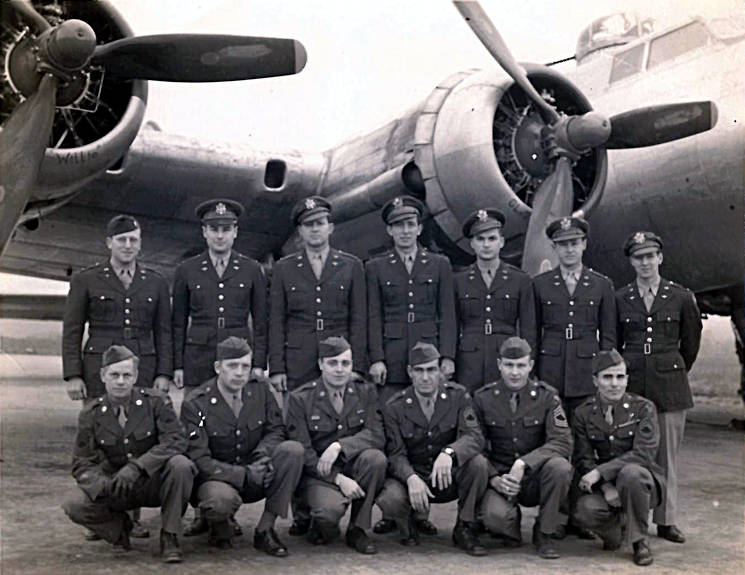 The crew of a B-17 Flying Fortress, to include 1st Lt. Cuno Vernal Becker, standing, far right. Becker is the great-uncle of current U.S. Air Force Chief Master Sgt. James McCloskey. (Courtesy photo by U.S. Air Force Chief Master Sgt. James McClose)