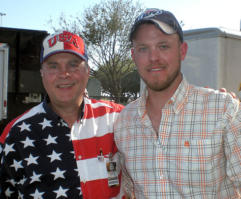 David Bancroft, founder of USA Patriotism!, with Marine veteran and country singer Chad Van Rys. David also thanked Chad for his brave, honorable service to our beloved America, which included three tours in Iraq.
