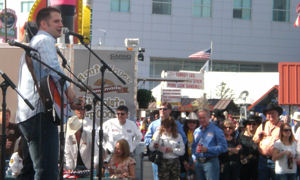 "Marine Cliff Hudson performing his heartfelt song, ""Send My Love"" for fellow troops at Salute to Our Troops."
